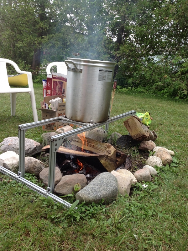 Brewing over a camp fire